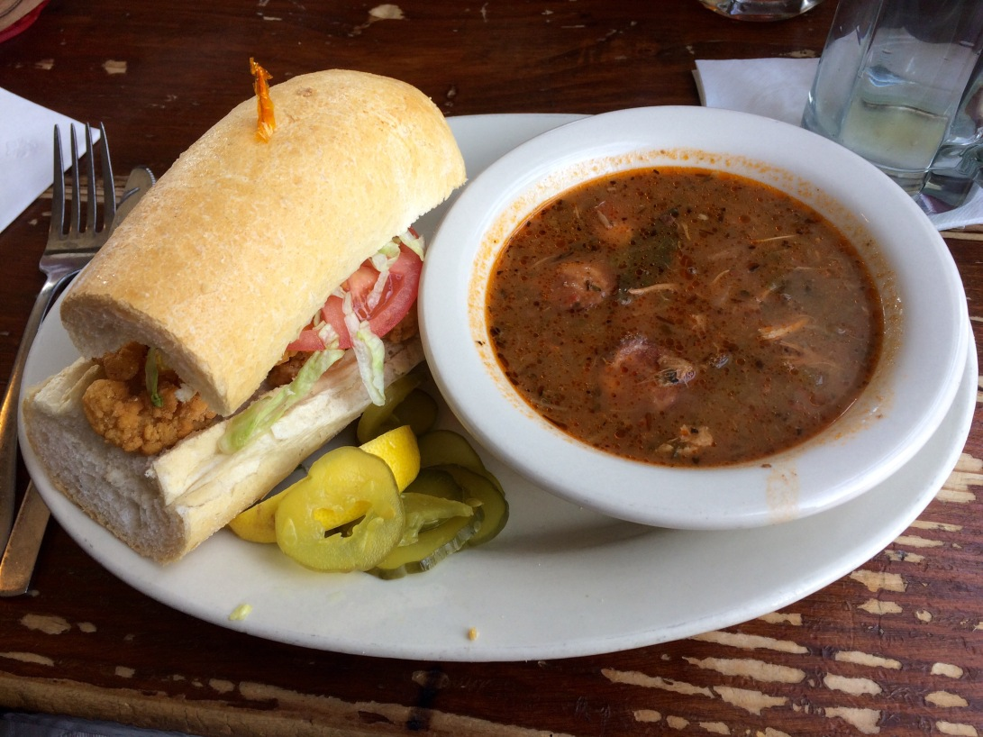 shrimp po' boy and gumbo at liuzza's by the track