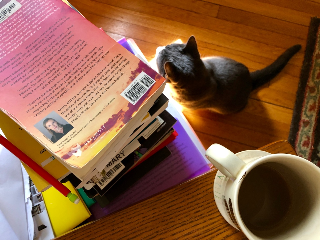 Cat next to a stack of books and mug of coffee